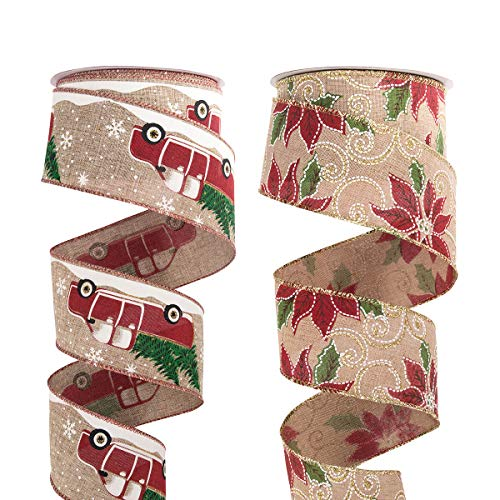 ARCCI Christmas Wired Edge Ribbon, Truck/Christmas Flower Pattern Assorted Burlap Gift Wrapping Ribbons DIY Xmas Design Decorations, 20 Yards (2 Roll x 10 yd) by 2-1/2 inch