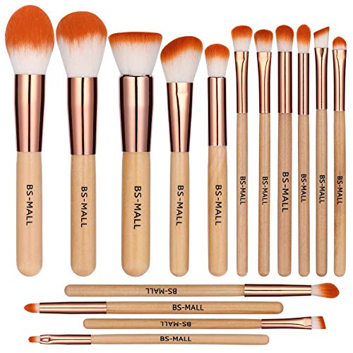 BS-MALL Makeup Brush Set 15 Pcs Wooden Eyeshadow Lip Foundation Makeup Brush Set Maine