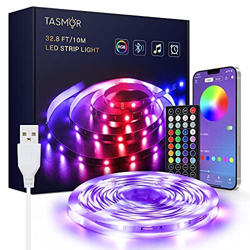 Tiras LED USB 10M,TASMOR Luces LED RGB 5050 con Control Remoto,Control de APP, Función Musical Tiras de Luces LED Iluminación Multicolor para TV Monitor Coche Pasillo Bar Fiestas y Habitación