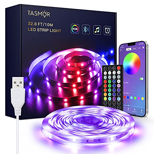 USB Striscia LED 10M, TASMOR RGB 5050 Bluetooth LED Striscia Musica, Controllato da APP, 16 Milioni...