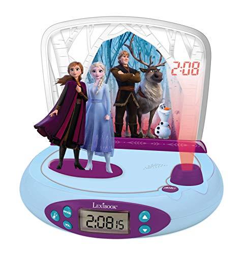 Lexibook RP510FZ_50 Disney Frozen Die Eiskönigin 2 ELSA & Anna, Projector-wecker mit Klingeltönen, Nachtlicht, projeziert die Zeit an die Wand, Soundeffekte, mit Batterien, Blau/lila
