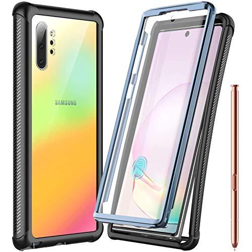 Temdan - Funda para Samsung Galaxy Note 10+ Plus, protector de pantalla integrado, protección completa, resistente a caídas para Samsung Galaxy Note 10+ Plus 5G (desbloqueo de huellas dactilares con agujero para huellas dactilares) (negro)