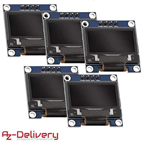 AZDelivery ⭐⭐⭐⭐⭐ 5 x 128 x 64 Pixel 0,96 Zoll OLED I2C Display für Arduino und Raspberry Pi mit gratis eBook!