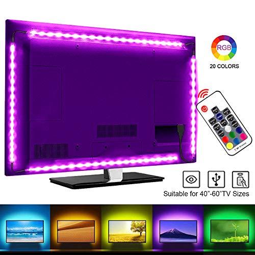 LED TV Hintergrundbeleuchtung, SRUIK 2M LED Stripe RGB LED Fernseher Beleuchtung USB für 40 bis 60 Zoll HDTV, TV-Bildschirm und PC-Monitor…