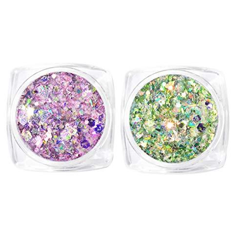 YOSIYO 2 Box/Set Nagel-Flakes Pailletten Metallpulver Magie Paillette Shinning...