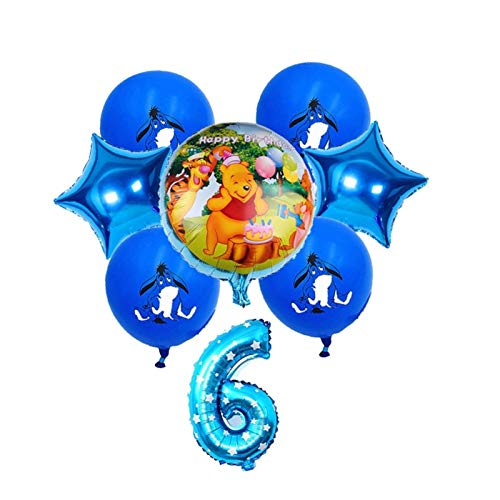LIANGLMY Globo 8pcs Winnie The Pooh Theme Dibujos Animados Feliz Cumpleaños Decoraciones de Fiesta Suministros Baloes Aluminio Foil Number Globos (Color : Blue-6)
