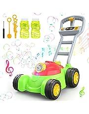 Theefun Bańka kosiarka zabawki dla małych dzieci, bąbelkowa kosiarka pchanie wzdłuż zabawki kosiarka dla dzieci z mydlinami maszyna roztwór w zestawie dmucharka bąbelkowa maszyna gry trawnikowe dla chłopców i dziewcząt
