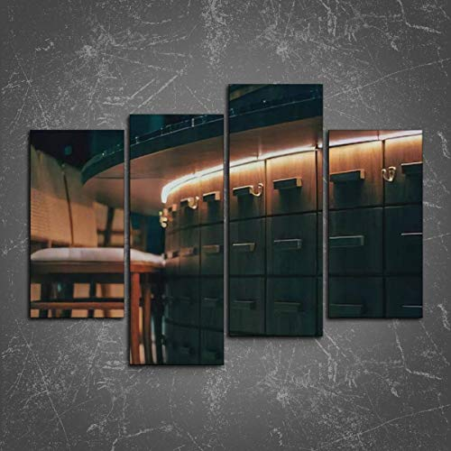 PeeNoke Wall Art: LED Strip Lights Hidden Away Under a Wooden Counter for Decorating in Print On Canvas Wall Decor Painting for Home Modern Decor 4 Panel