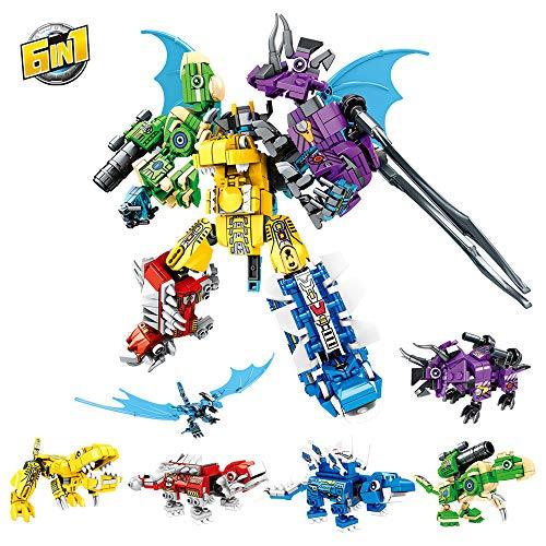 RuiDaXiang Bloque de construcción de Robot de Dinosaurio Juguete,6 en 1 Transformando Dinosaurios Guerrero Mech,Modular DIY Juguete para niños de 6-12 años niños niñas(649pcs)