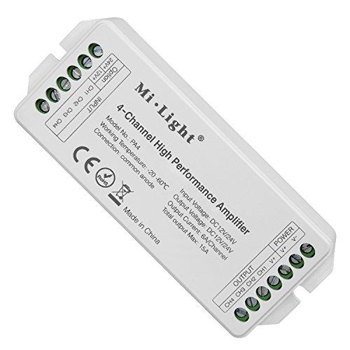 LIGHTEU®, Mi.Light PA4 4-kanaals krachtige versterker DC12V-24V Max. 15A RGB RGBW LED-versterkercontroller voor RGB RGBW LED-strip