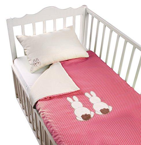 ToTs by Smartrike 280-202 Joy Parure de lit 100 % Coton satiné avec Housse de Couette 100 x 135 cm et 1 taie d'oreiller 60 x 40 cm Rose Rabbit
