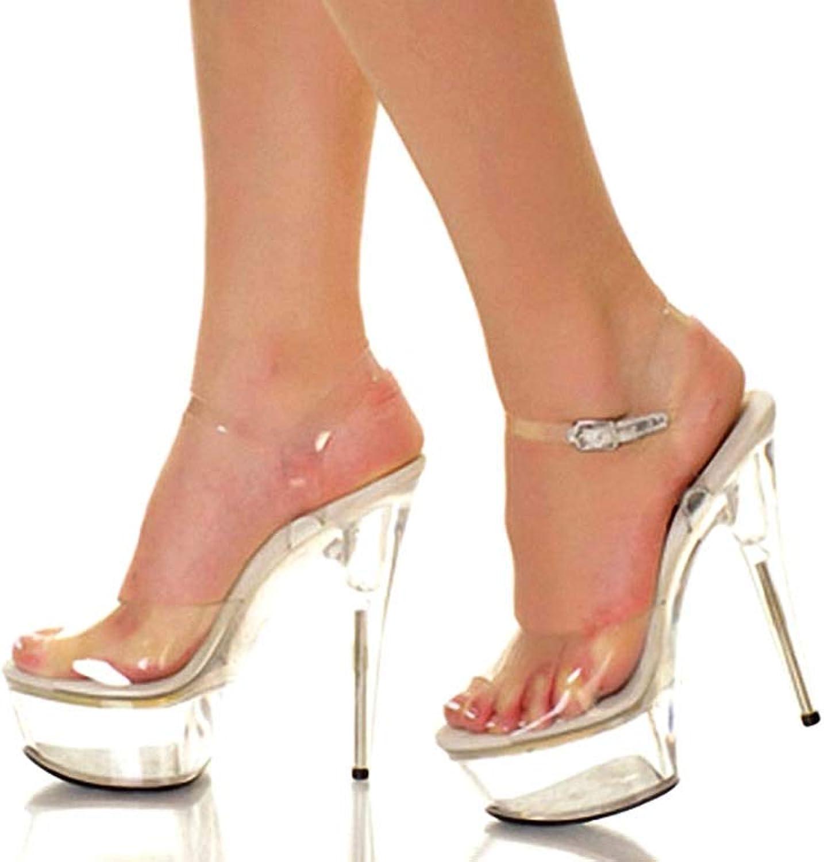 GHFJDO GHFJDO GHFJDO Damen Gelee Plattform Sandalen PVC, Frühling Club Schuhe Heels, Sommer Stiletto Absatz durchscheinende Ferse Kristall Ferse Hochzeit Partyabend,Clear,39EU  ccbe56