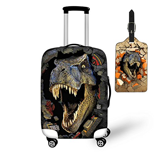 Nopersonality Luggage Cover Suitcase Protector Cover Dinosaur Animal Print + Luggage Tag Travel ID Card Holder