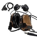TAC-SKY COMTA IIIヘルメットバージョンサバゲーヘッドセット、kenwood PTT付き、聴覚保護 (コヨーテブラウン)