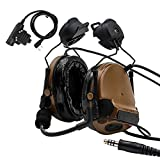 TAC-SKY Comtac III Helmet Tactical headset,Side Rail Airsoft Earmuffs with PTT and Microphone for Hunting (Coyote Brown)