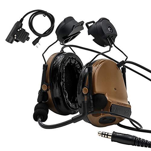 TAC-Sky Comta III Helm Taktisches Headset, Seitenschiene Airsoft Ohrenschützer mit PTT und Mikrofon für die Jagd (Coyote Brown)