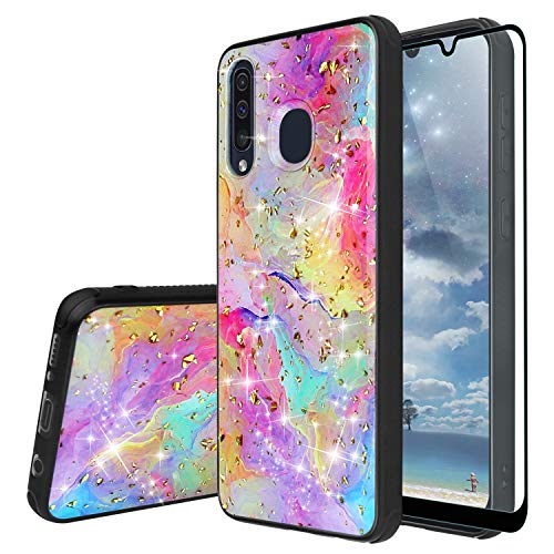 TJS Phone Case Compatible with Samsung Galaxy A20/Galaxy A30/Galaxy A50, with [Full Coverage Tempered Glass Screen Protector] Shiny Marble Glitter Back Skin Full Body Soft TPU Rubber Bumper (Rainbow)