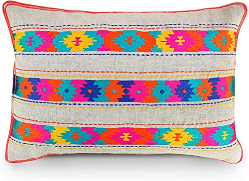 VLiving Cojín bohemio estilo Kilim bordado marroquí azteca étnica tribal india multicolor funda de almohada de lino tamaño – 45,7 x 45,7 cm