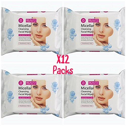 Beauty Formulas - Toallitas limpiadoras micelares (12 x 25 unidades)