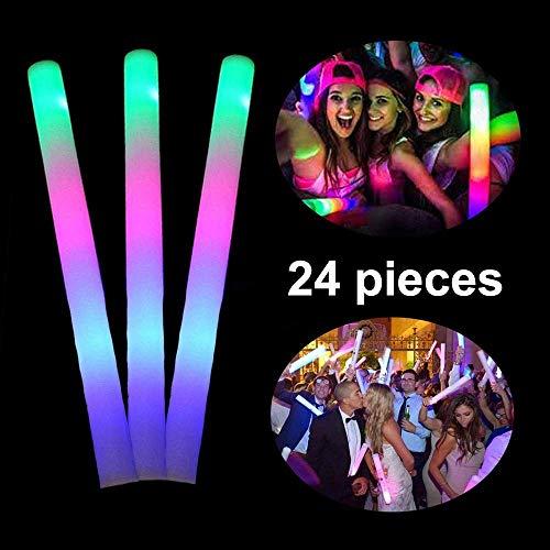Lifbeier 24 PCS LED Foam Glow Sticks, Light up Foam Sticks 3 Flashing Modes Glow in the Dark Party Supplies for Kids, Birthday, Wedding, Halloween