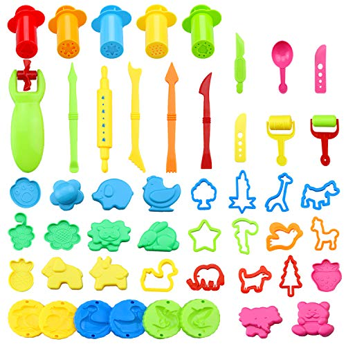aovowog Utensili per Plastilina 49 Colorati Accessori e Utensili a Forme di Animali Strumenti per Argilla Modellabile Bambini Giocattoli (Colore Casuale)