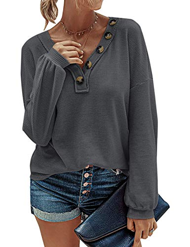 MEROKEETY Women Long Sleeve Waffle Knit Pullover Tops V Neck Button Shirts Blouses, Charcoal, XL