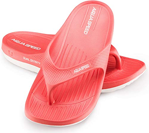 Aqua Speed Badesandalen Damen | Zehentrenner rutschfest | rote Duschsandalen | Badeschlappen für Frauen Mädchen | Badelatschen | Badeslipper | Womens Shower Sandalas | Gr. 36, Rot | Alcano