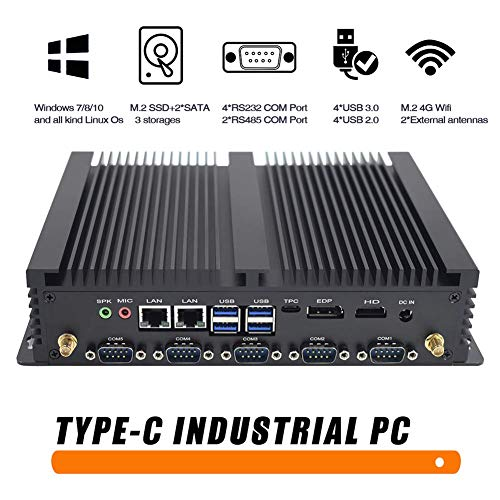 Lüfterloser Mini PC Industrie PC DDR4 Intel Core i3 8145U UHD-Grafik 620 Mini Desktop Computer, Windows 10, 32GB DDR4 / 512GB M.2 SSD, 2 LAN, HDMI, EDP, Type C/SIM/LVDS/ 4K/ M.2 Wi-Fi/Bluetooth 4.0