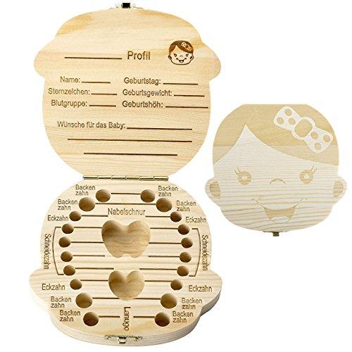 Mogoko [Deutsche Version] baby Kinder Original Holz Haar Milchzahndose Milchzähne Zähne box Kasten Souvenir Aufbewahrungsbox-Kundenspezifische Gravur (Mädchen(Kein Name))