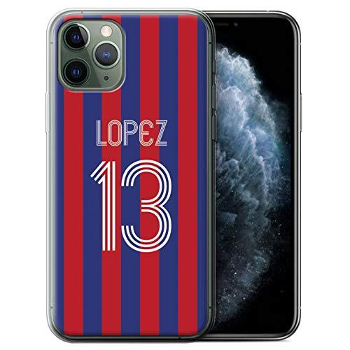 Personalisiert Individuell Euro Fußball Vereine Trikots Kit Gel/TPU Hülle für Apple iPhone 11 Pro/Blaues Karminrot Design/Initiale/Name/Text Schutzhülle/Case/Etui