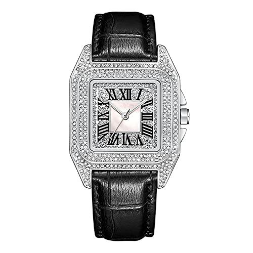 TREWQ Mujeres Moda Chapado En Oro Cuarzo Pulsera Relojes con Correa En Cuero, Reloj De Cuarzo Cuadrado De Moda Retro con Diamantes Completos, Regalo para Damas,Crystal Silver Black