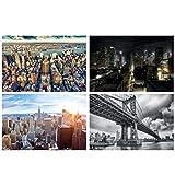 GREAT ART® Juego de 4 Motivos de póster XXL - Mezcla de Manhattan - Nueva York EE. UU. Skyline City Penthouse Sunset Sightseeing Cuadro Decorativo para Pared Interior Póster de 140 x 100 cm