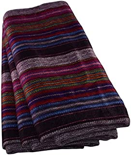 Qisu Alpaca Wool Blanket Throw   Large, Beautiful, Warm, Variegated   85 x 65 inches   Ultra-Soft, Hypoallergenic and Breathable   Non-Itchy or Scratchy Fabric (Purple Earth Variegated)