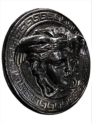 Medusa Wandrelief 3-D Bild Skulpture Büste Relief Griechisches Bild Antikes Bild Schwarz Metallic