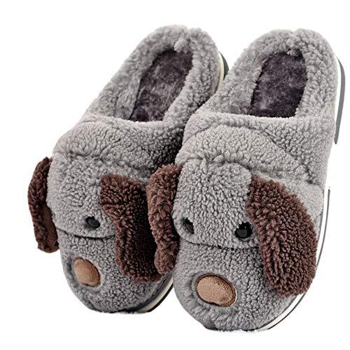 LANFIRE Kinder und Erwachsene Baumwolle Hausschuhe Hund Haus Hausschuhe Plüsch Hausschuhe Tier Hausschuhe (Grey, 38)
