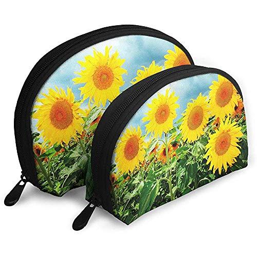 Mehrjährige Sunflower Art Style Tragbare Taschen Make-up Kulturbeutel Multifunktions Tragbare Reisetaschen Kleine Make-up Clutch Pouch mit Reißverschluss
