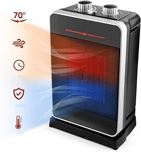 Amzdeal Keramik Heizlüfter - Heizung mit Thermostatregler, 2000W Heater mit 2 Leistungsstufen, 70° Oszillation, Überhitzungsschutz & Umkippschutz, GS Zertifiziert für Schlafzimmer, Wohnzimmer und Büro