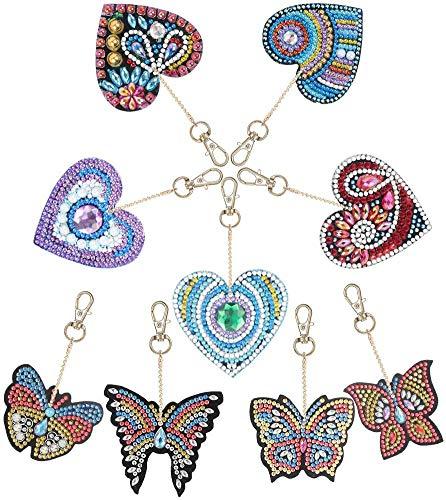 Hellomagic 9 piezas DIY Diamante pintura llavero, mariposa y amor corazón diamante pintura Kits 5D Full Drill Diamond pintura clave anillos para mujeres niñas bolso bolso bolso bolso bolso bolso colga