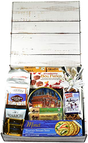 Gift Basket Village Frost Bites Care Package, Designer Gift Box - Celebrate Hanukkah with Themed Snack Mix, Meat and Cheese, Cookies, Chocolates and More...