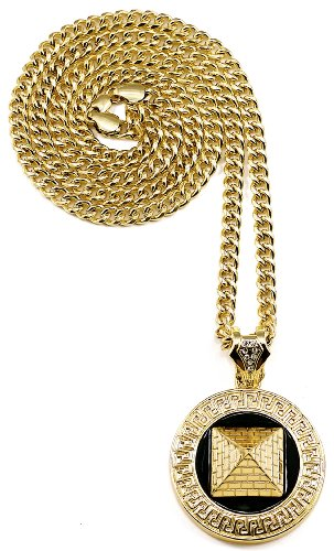 Pyramid 3D Egyptian New Gold Color With Black Laquer Pendant Necklace With 36 Inch 6 mm Cuban Link Style Chain Chris Brown