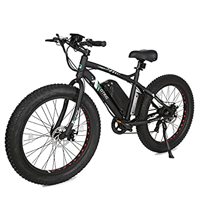 "ECOTRIC Fat Tire Electric Bike Beach Snow Bicycle 26"" 4.0 inch Tire Aluminum Ebike Powerful 500W Motor Electric Mountain Bicycle 36V/12AH Lithium Battery (Black)"