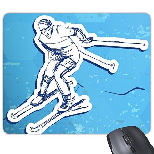 Winter Sport Snowboarden Contes Ski Actie Blauw Wit Aquarel Illustratie Rechthoek Antislip Rubber Mousepad Game Mouse Pad