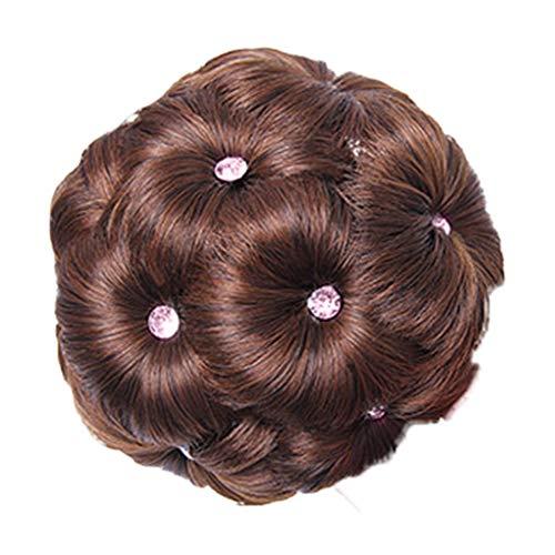 Waldron.wyf Perruques pour femme, charmantes perruques de cheveux naturels, 9 fleurs, faux cristaux, extension de cheveux élastique pour mariée