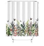 MundW DAS DESIGN Duschvorhang bunt Garten grüne Pflanzen Flora Textil Vorhang Blüte Schmetterlingen Schimmelresistent Farbfest inkl. 8 C-Ringe Gewicht unten 120x180cm(BxH) cm