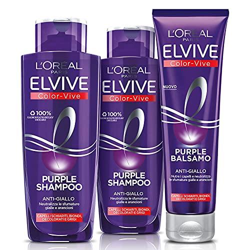 L'Oréal Paris Shampoo + Balsamo Biondo, Kit con Shampoo e Balsamo Anti-Giallo Elvive...