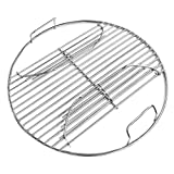 14 Inch 201 Stainless Steel Charcoal Grill Cooking Replacement Grate now with Hinges - Compatible with Weber 14' Smokey Joe