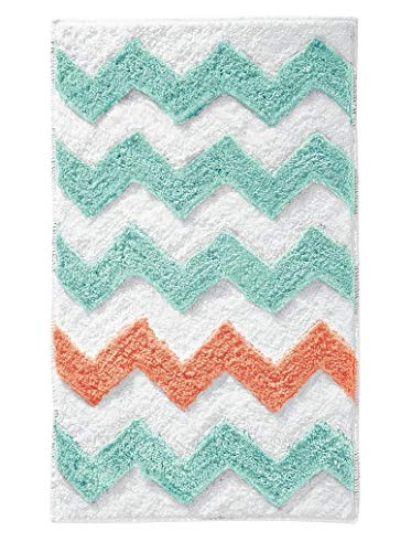 iDesign Chevron Bath Rug, Machine Washable Microfiber Accent Rug for Bathroom, Kitchen, Bedroom, Office, Kid's Room, 34' x 21', Teal Blue and Coral Pink