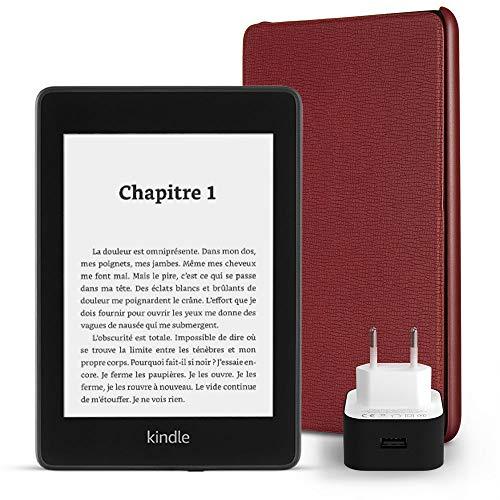 Pack essentiel comprenant la liseuse Kindle Paperwhite, 8 Go, avec offres spéciales et Wi-Fi, un étui Amazon en cuir (Bordeaux) et un chargeur Amazon Powerfast