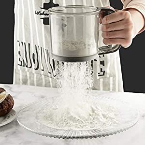 Fovely Tamiz de harina, draga de harina con una Sola manija Taza de tamiz para Hornear Artesanía de Cocina para tamiz Harina de Tapioca Harina de Coco Harina de Pastel