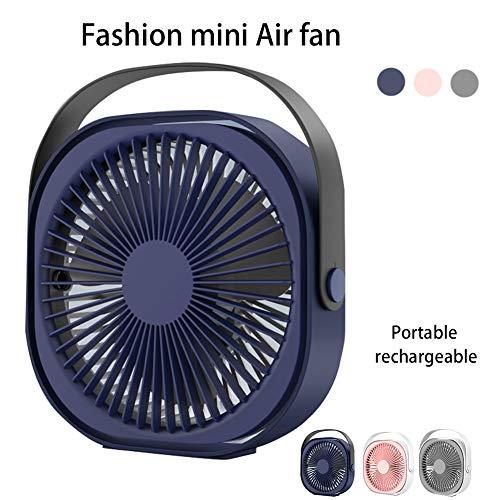 Shoppingba draagbare USB-ventilator met 6 inch en geluidsarme miniventilator met 3 snelheden, 360 graden rotatie, kleine ventilator voor thuis en op kantoor Blau